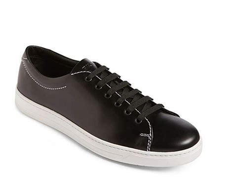 Men's Brushed Calf Leather Low-top Sneaker, White-Black 4E3116