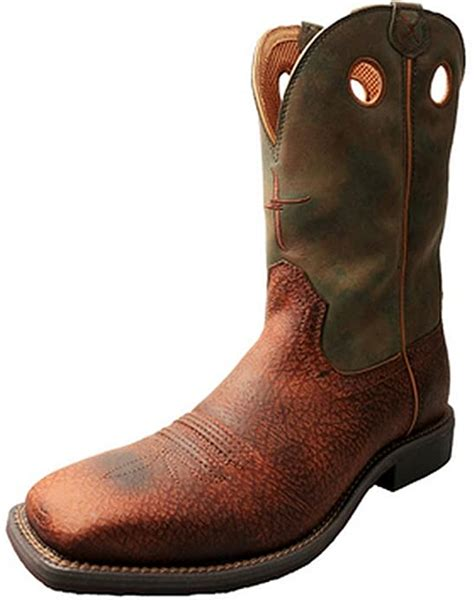 Men's Camo Top Hand Cowboy Boot Square Toe - Mth0017