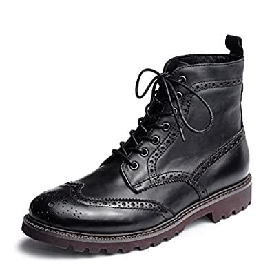 Men's Casual Business Shoes Burnished Leather Lace-up Brogue Wingtip Oxfords LP6