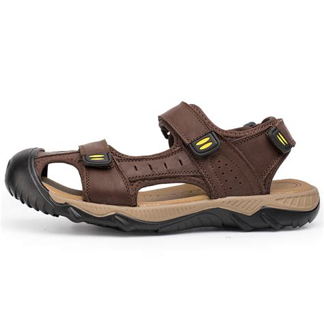Men's Casual Cow Leather Sandals Non-slip Slip On Summer Beach Wear Flip Flop