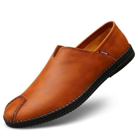 Men's Casual Soft Breathable Slip-on Loafers Genuine Leather Low-top Shoes Flats