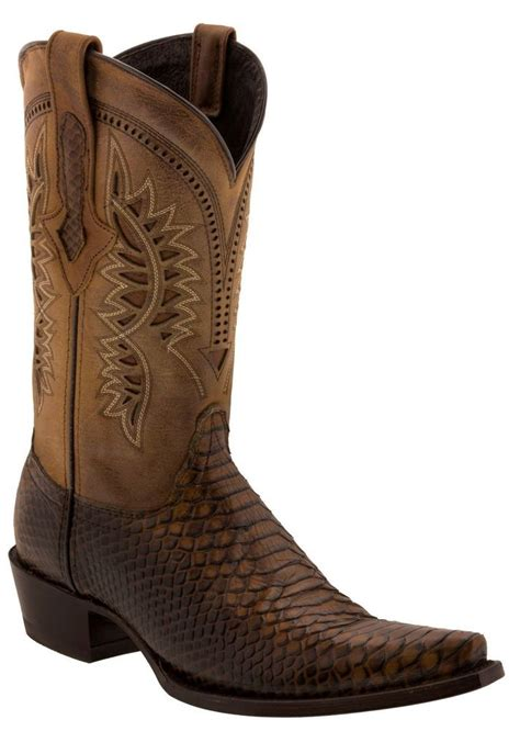 Men's Cognac Brown Python Snake Western Leather Cowboy Boots 3X Toe