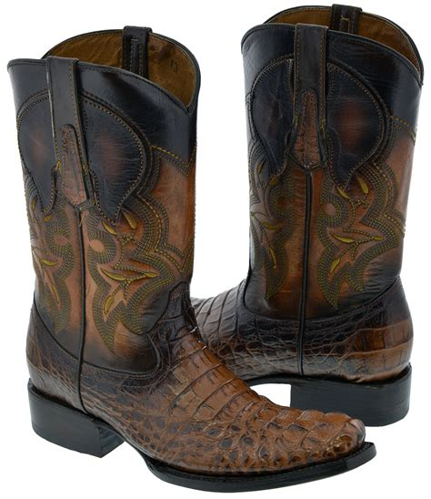 Men's Crocodile Alligator Head Leather Cowboy Western Rounded Boots Brown