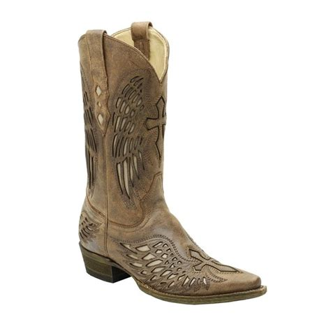 Men's Distressed Nahm Wing and Cross Inlay Snip Toe Cowboy Boots A1993