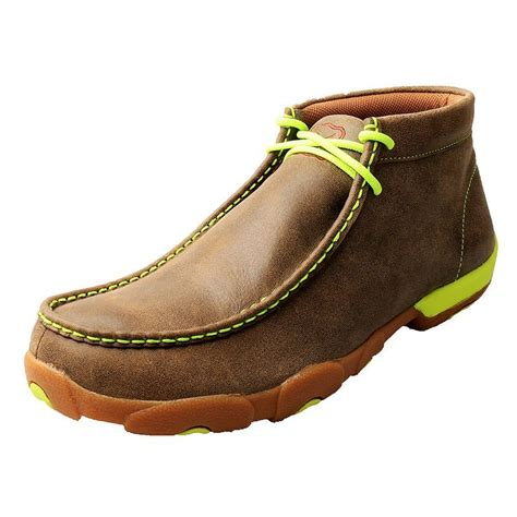 Men's Driving Moccasins Bomber/Neon Yellow - Casual Walking Leather Footwear