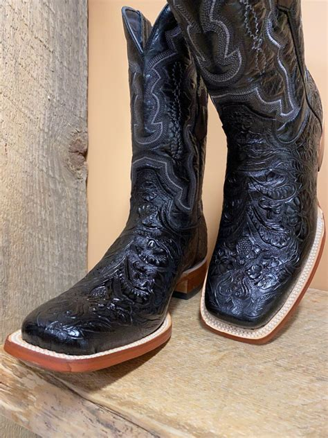 Men's Embossed Tooled Western Boot Square Toe - 1189309
