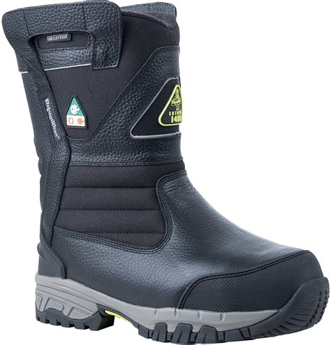 Men's Extreme Freezer Pull-On Insulated Waterproof 8' Leather Work Boot, Black