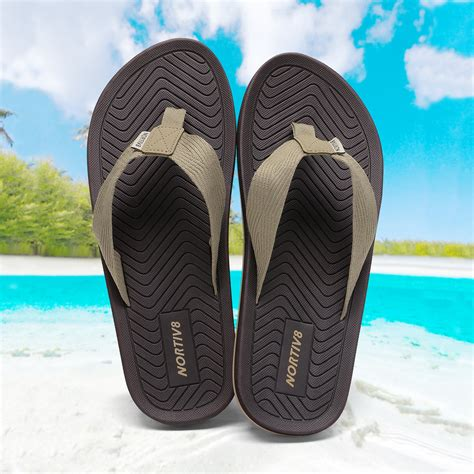 Men's Flip Flops Thong Sandals Comfortable Slip on Leather Summer Beach Casual Slippers