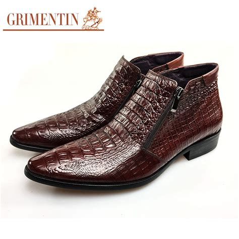 Men's Genuine Alligator Leather Ankle Boots Causal Boots