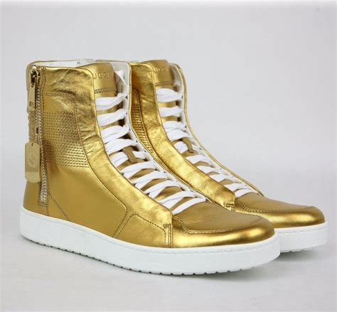 Men's Gold Leather Limited Edition High-top Sneakers 376193