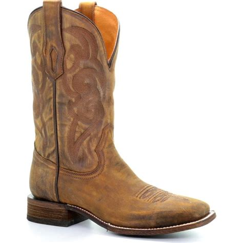 Men's Golden Embroidery Cowboy Boot Square Toe - A3302
