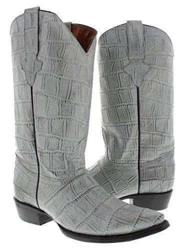 Men's Gray Full Crocodile Big Belly Leather Cowboy Boots J Toe