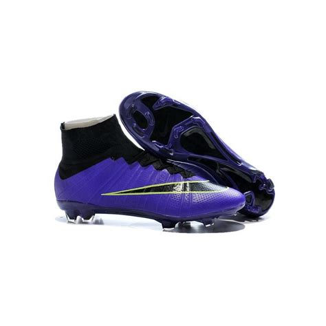 Men's High Ankle Soccer Cleats Mercurial Superfly V FG White/Purple