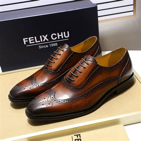 Men's Leather Brogue Oxford Dress Shoes Lace up