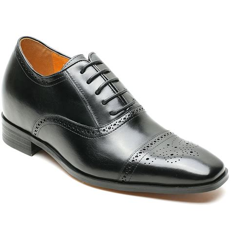 Men's Leather Dress Elevator Oxford Shoes 2.76 inches Height Increasing Insoles AX92H38