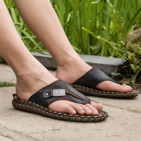 Men's Leather Flip Flops Fashion Casual Beach Sandals Indoor & Outdoor Slippers Red, Green, Black (Color : B,...