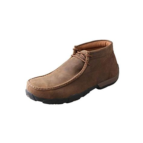 Men's Leather Lace-up Rubber Sole Driving Moccasins - Oiled Saddle