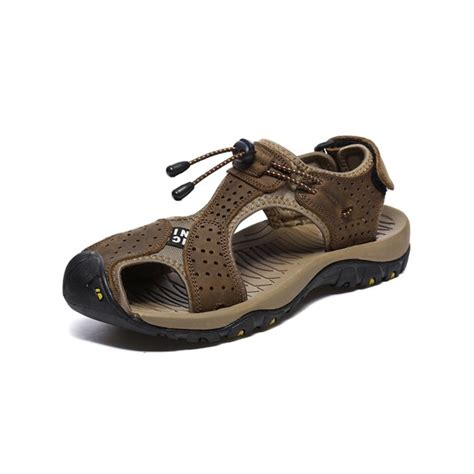 Men's Leather Sandals Athletic Sport Close-Toe Fishermen Sandal Summer