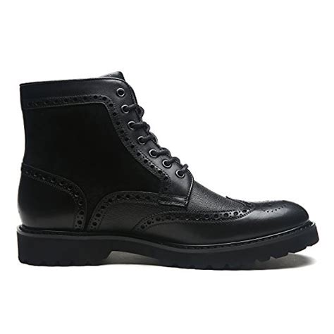 Men's Leather Winter Boots Wingtip Lace up Classic Casual Comfortable Dress Boot for Men