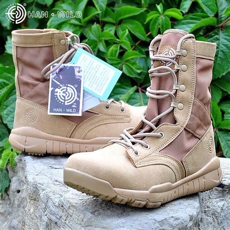 Men's Light Weight Leather and Canvas Combat Boot