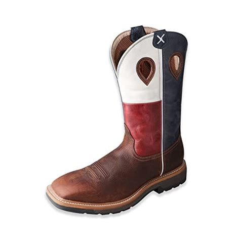 Men's Lite Texas Flag Pull-On Work Boot Steel Toe Brown 13 B (M) US