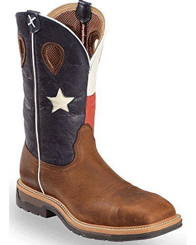 Men's Lite Texas Flag Pull-on Work Boot Steel Toe Brown 10.5 B (M) US