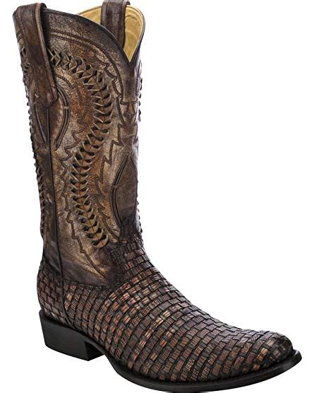 Men's Lizard Braided Vamp Cowboy Boot Round Toe - C3017