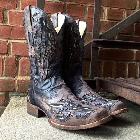 Men's Men's Bone Inlay Western Boot Square Toe - A2828
