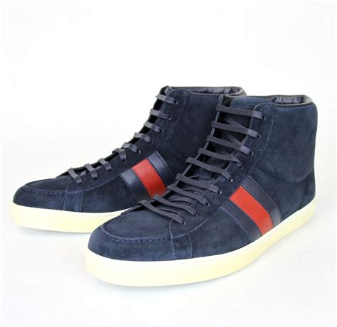 Men's Navy Suede Brb Leather Web Detail High-top Sneakers 337221