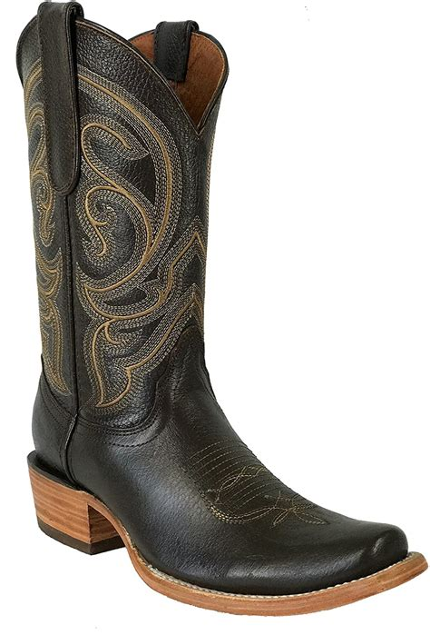 Men's New Leather Cowboy Western Durable Boots Square Toe Brown Blue