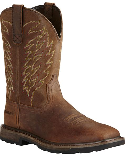 Men's Pull-on Western Work Boot Square Toe - Jd4711