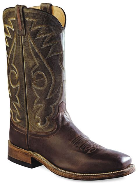 Men's Round Hole Two-Tone Western Cowboy Boot Square Toe - Bsm1845