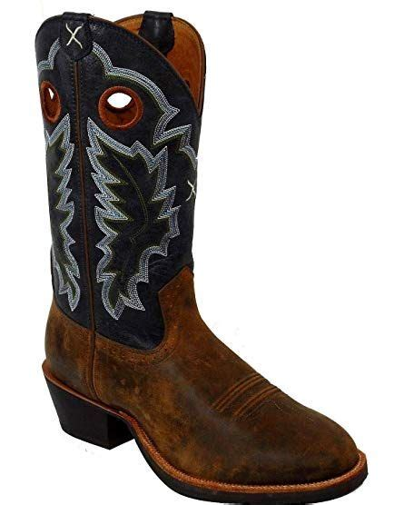 Men's Ruff Stock Cowboy Boot Round Toe - Mrs0037