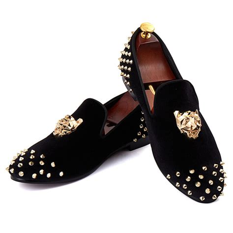Men's Spikes Dress Shoes Black Velvet Loafers with Gold Buckle Slip-On Slippers Flats