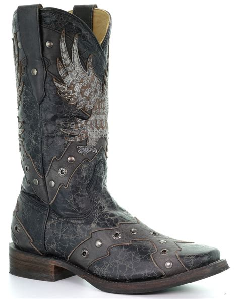Men's Square Toe Eagle Overlay & Studs Cowboy Boot Black/Grey&nbsp