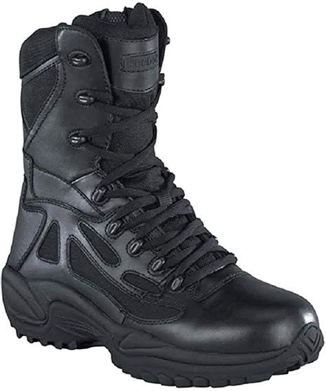Men's Stealth 8' Lace-up Side-Zip Work Boot Black 14 EE US