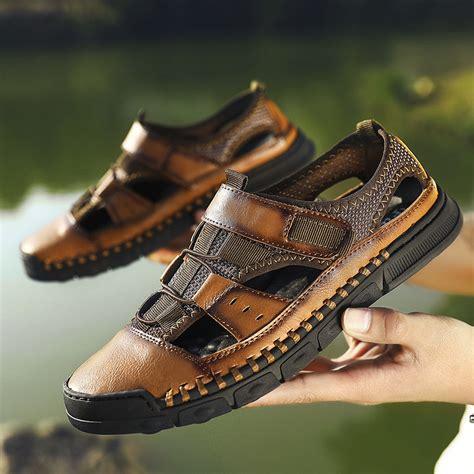 Men's Summer New Leather Beach Slippers Sandals