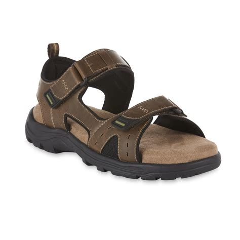 Men's Thom McAn Holden Sandal Brown Open Toe Sporty Look Designed For All Day Wear Padded Insole For Walking
