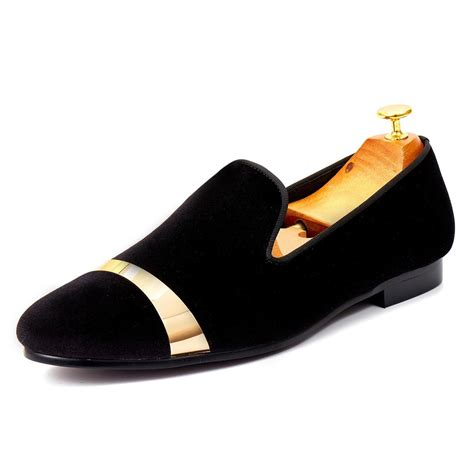 Men's Velvet Loafers Shoes with Gold Plate Loafers & Slip-On Smoking Slipper Loafer Shoes for Men