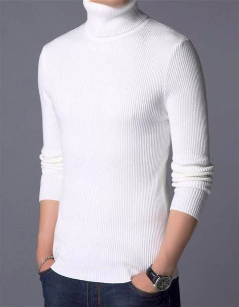 d43b9319f770 Mens White Turn Down Turtleneck Sweater, Instyle Fashion - Instyle ⊕