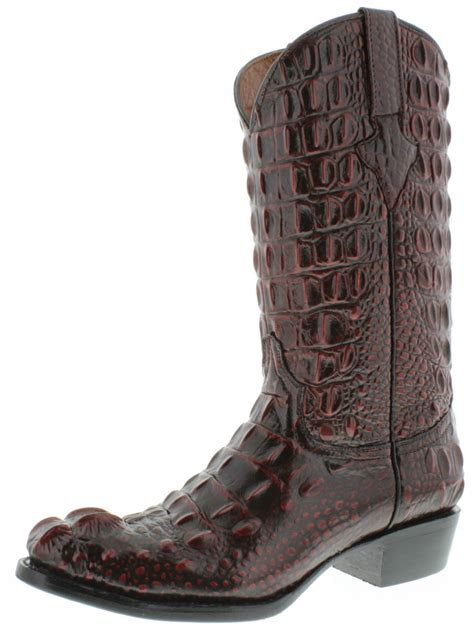 Men's handcrafted crocodile alligator belly print western cowboy boots