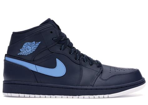 Mens AIR 1 MID Obsidian University Blue White Size 10