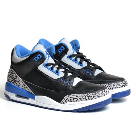 Mens Air Jordan 3 Retro Black/Sport Blue-Wolf Grey Leather Basketball Shoes Size 9