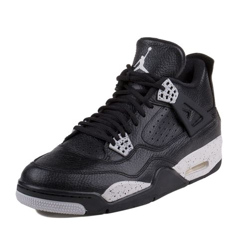 Mens Air Jordan 4 Retro LS Oreo Black/Tech Grey Leather Basketball Shoes