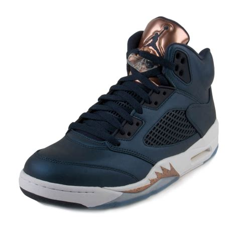 Mens Air Jordan 5 Retro Olympic Bronze Obsidian/White-Bronze Leather Size 8.5