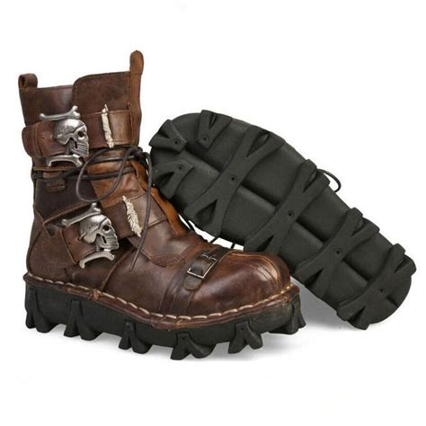 Mens Black Genuine Leather Military Army Boots Gothic Skull Punk Motorcycle Martin Boots