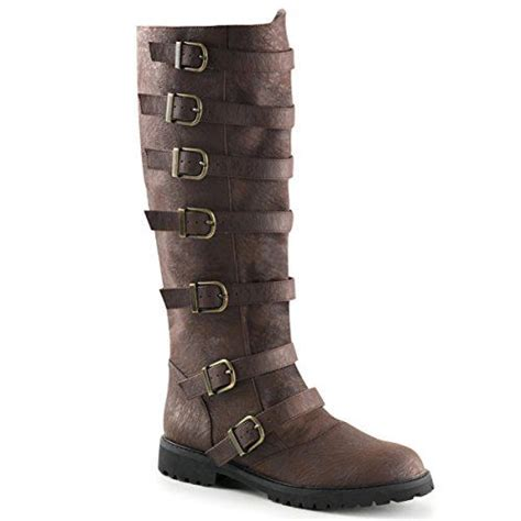 Mens Distressed Finish Brown Boots with Adjustable Buckles and 1.5 Inch Heels