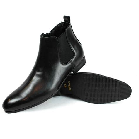 Mens Dress Formal Casual Chelsea Boots Zipper Leather Ankle Boots Formal Shoes by