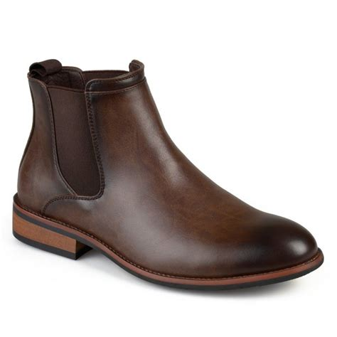 Mens Faux Leather High Top Round Toe Chelsea Dress Boots