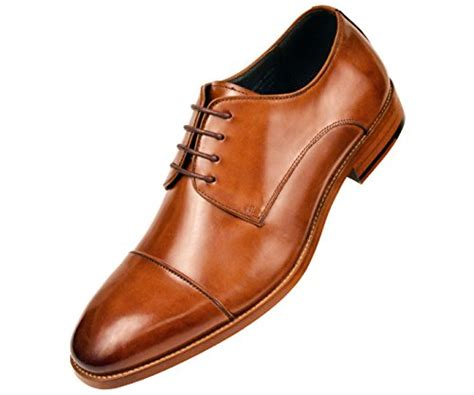 Mens Genuine Leather Cap Toe Lace up Oxford Dress Shoe with Wood-Like Sole, Style AG3887